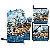 Juego de 4 Manoplas para Horno y Soportes para ollas,Panorama de Verano escénico de la Plaza del Mercado (Kauppatori) en el Muelle del Casco Antiguo de Helsinki,Finlandia