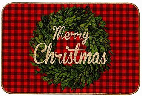 YBB Christmas Buffalo Plaid Boxwood Wreath Doormat Linen Merry Christmas Decorative Floor Mat product image