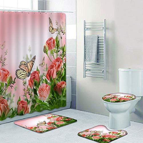 Bullpiano 4-teiliges Blumenduschvorhang-Set mit rutschfestem Teppich, Toilettendeckelabdeckung Badematte wasserdichtem Duschvorhang für Schmetterlinge Blumen Badeduschvorhang für Badezimmer