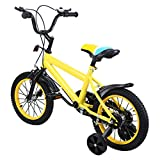 MuGuang14PulgadasBicicletaInfantilEstudioAprendizajeMontaraCaballoBicicletaniñosniñasBicicletaconruedinesconCampanapor3-8años Children bike(Amarillo)