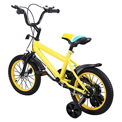 """MuGuang 14\"""" Kinder Fahrrad Kid Balance Baby Study Lernen Reiten Bike Boys Children Bike Mädchen Fahrrad mit Stützrädern mit Klingel für 3-8 Jahre (Gelb)"""