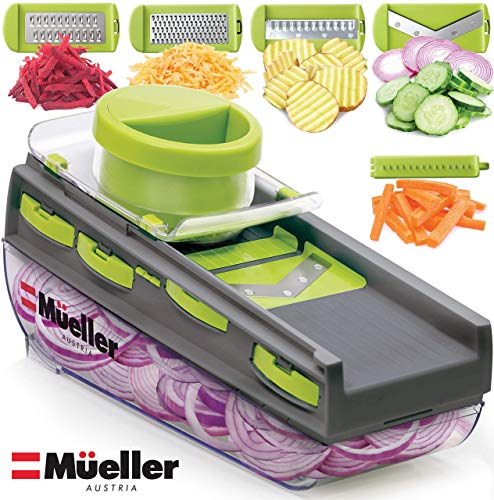 Mueller Mandoline Slicer, Premium Quality V-Pro Five Blade Adjustable Vegetable Slicer, Cutter, Shredder BPA-Free Veggie Slicers for Fruits and Vegetables