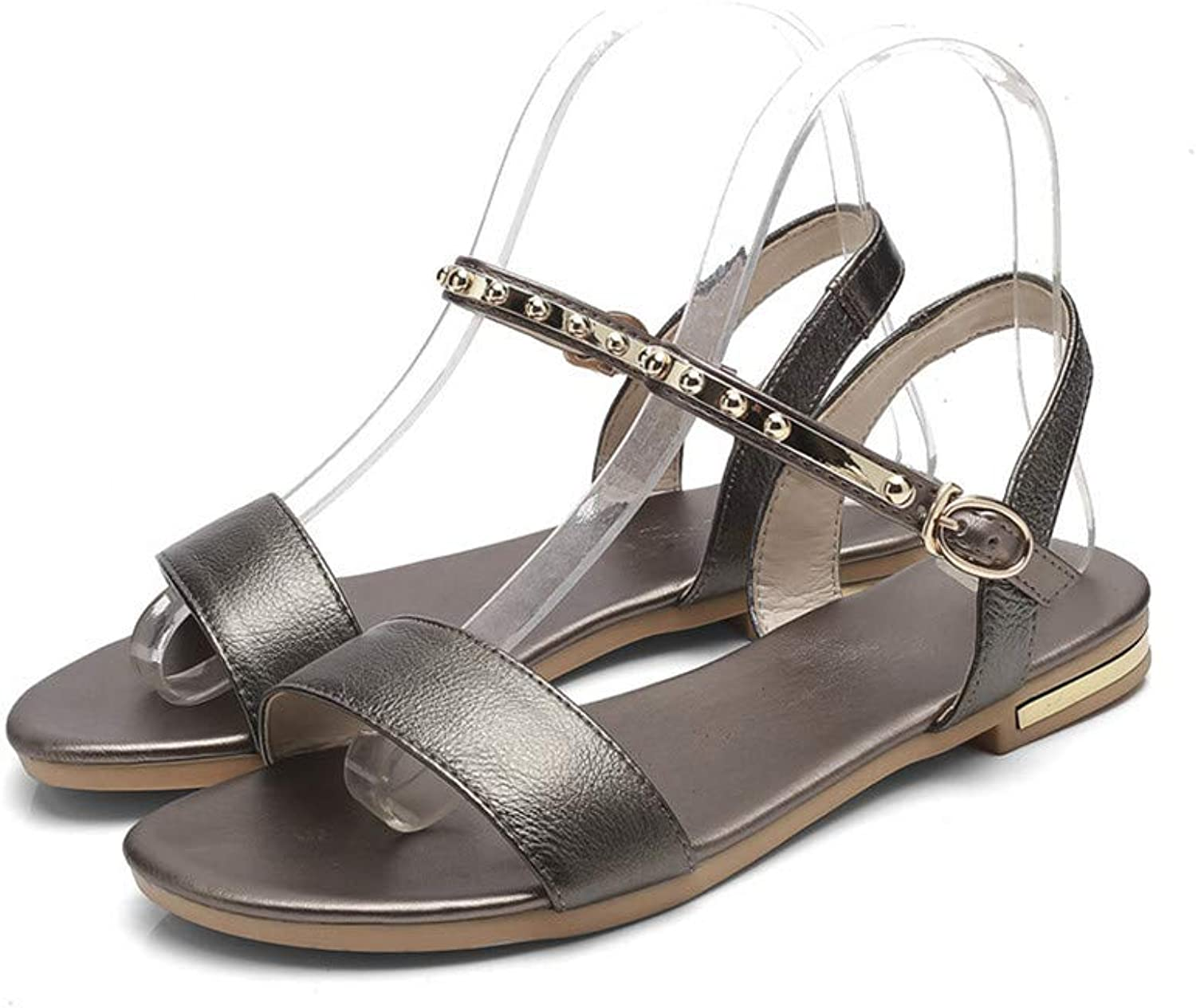 Fashion Summer shoes Woman Buckle Casual Sandals Women Bling Flat with Genuine Leather shoes Big Size