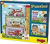 HABA 304186 - Puzzles Kleine Feuerwehr, 3 Puzzles mit je 24 Teilen, 3 unterschiedliche...