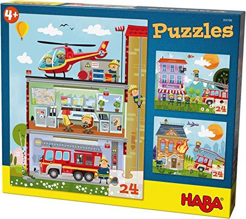 HABA 304186 - Puzzles Kleine Feuerwehr, 3 Puzzles mit je 24 Teilen, 3 unterschiedliche Feuerwehr-Motive, Puzzlespaß ab 4 Jahren