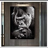 CAPTIVATE HEART Pintura de Arte en Lienzo 30x50cm sin Marco Imagen de Gorila Negro Carteles e Impresiones de Animales nórdicos Cuadros de Pared de Mono Sala de Estar Decoración del hogar