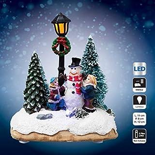 Bianco SUPVOX globi di Neve Carillon di Natale conservato Cupola di Fiori Palla di Vetro di Neve Ornamento Desktop Musicale per Regalo di Festa di Natale