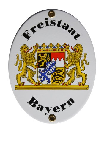 Freistaat Bayern Emailschild Emaille Schild Freistaat Bayern 11,5 x 15 cm Grenzschild Email Oval.