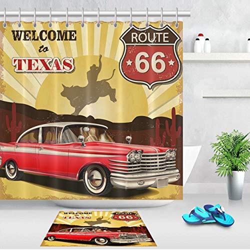 lovedomi Juego de cortina de ducha estilo vaquero occidental con impresión 3D impermeable y revestimiento de tela de poliéster de 72 pulgadas + alfombrilla de baño de 40 x 60 cm