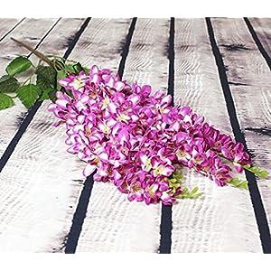 "Silk Flower Arrangements Artificial and Dried Flower Thai Orchid Chlorophytum 65cm/25.59"" Length Artificial Flowers Freesia Bracketplant 5 St for Wedding Centerpiece - ( Color: Fuchsia )"