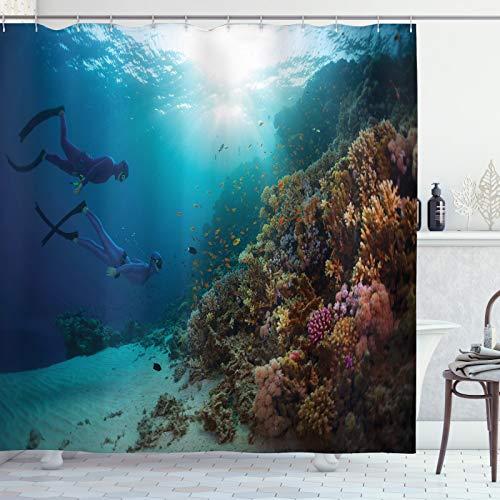 ABAKUHAUS Taucher Duschvorhang, Exploration Korallenriff Wand, Pflegeleichter Stoff mit 12 Haken Wasserdicht Farbfest Bakterie Resistent, 175x200 cm, Mehrfarbig