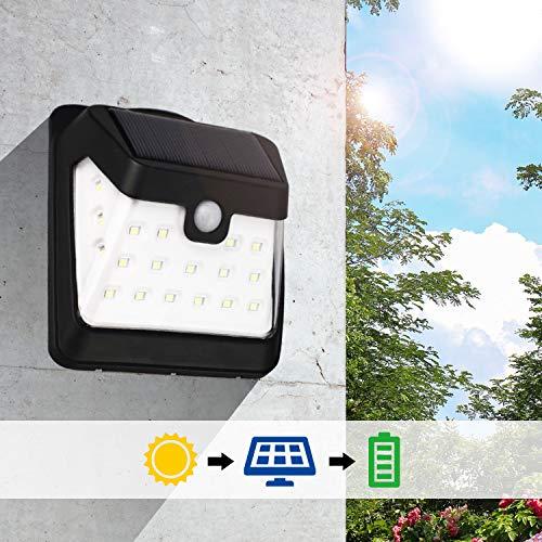 Komaes Solar Motion Sensor Lights,21LED Waterproof Solar Lights with IP65,Solar Lights Outdoor with 270°Wide Angle,Solar Motion Lights Outdoor Perfect for Patio,Yard,Garden,Garage-4 Packs