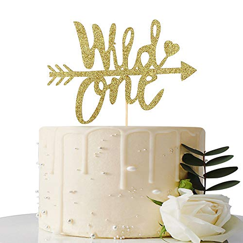 Glod Glitter Wild One Cake Topper for Baby First Birthday Cake Decoration,Theme Party Decorations, Baby Shower Photo Props