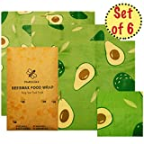 Juego de 6 envoltorios de Cera de Abeja | Envoltura Sandwich | Ecológico, Orgánico, Biodegradable, Lavable, Reutilizable | Bocadillo Grande