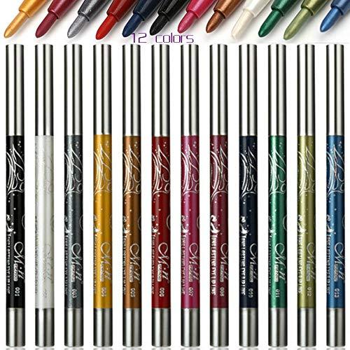 Waterproof Eyeliner, 12 Color Eyeliner, Eye Shadow Pencil, Eyebrow Pencil, Lip Liner, Multifunctional Color Painting Cosmetic Tool. (12Pcs) (Style-1)