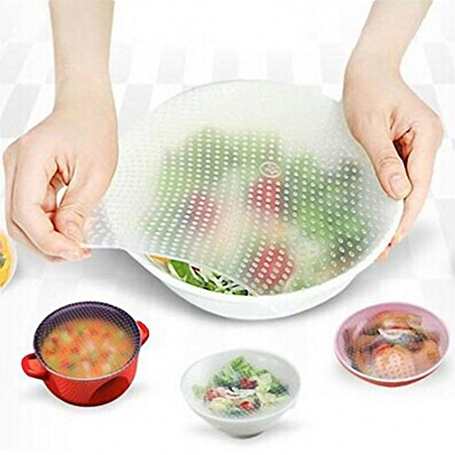YJYdada Silicone Food Wrap Reusable Seal Cover Stretch Fresh Keeping Kitchen Tools (B)
