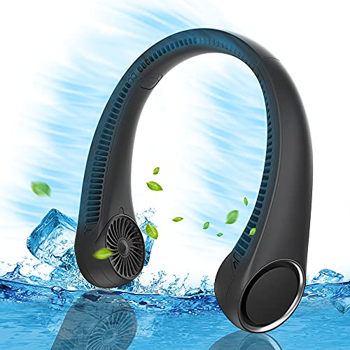Personal Cooling Portable Neck Fans - USB Rechargeable,360 Free Rotation and Lower Noise Bladeless Battery Operated Design with 3 Speeds Duration 48 hrs , Small Neck Air Conditioner.(Black)