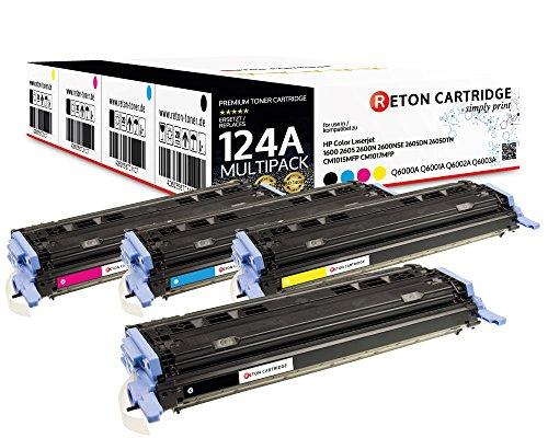 4 Original Reton Toner, kompatibel, nach (ISO-Norm 19798) ersetzt Q6000A Q6001A Q6002A Q6003A HP 124A HP Color Laserjet 1600 2600N 2600DN 2605DTN HP Color Laserjet CM1015 CM1015MFP CM1017 CM1017MFP
