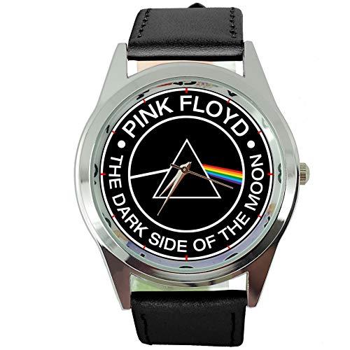 Reloj de cuarzo redondo negro con correa de piel auténtica para los f