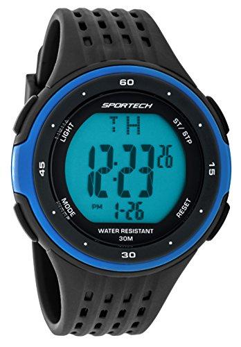 Sportech Men' s | Classic Black & Blue Digital Water Resistant Sport Watch | sp12302