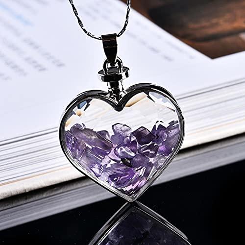 DOOLY 1 Pieza de Adorno Mineral de Cristal Natural Botella de Deseos Colgante de corazón guardián Moda Pareja Colgante Collar Colgante Regalo joyería