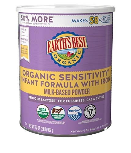 Earth's Best Organic Low Lactose Sensitivity Infant Formula with Iron, Milk-Based Powder,...