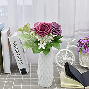 derblue artificial flowers combo realistic fake rose with stem for diy wedding bouquets centerpieces bridal shower party home decorations (series 4) silk flower arrangements