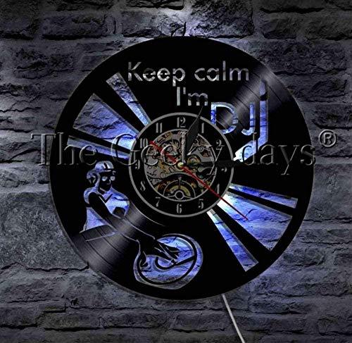 Hueco 7 Color LED Luz Mantener la Calma I m DJ Vinilo Record Reloj de Pared Rock Music Pared Auriculares DJ Mesa giratoria Decoración Discoteca