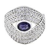 joyas plata buenas piedras preciosas forma ovalada multi piedra facetada anillos de iolita - anillo de plata 925 azul iolita - nacimiento de febrero acuario