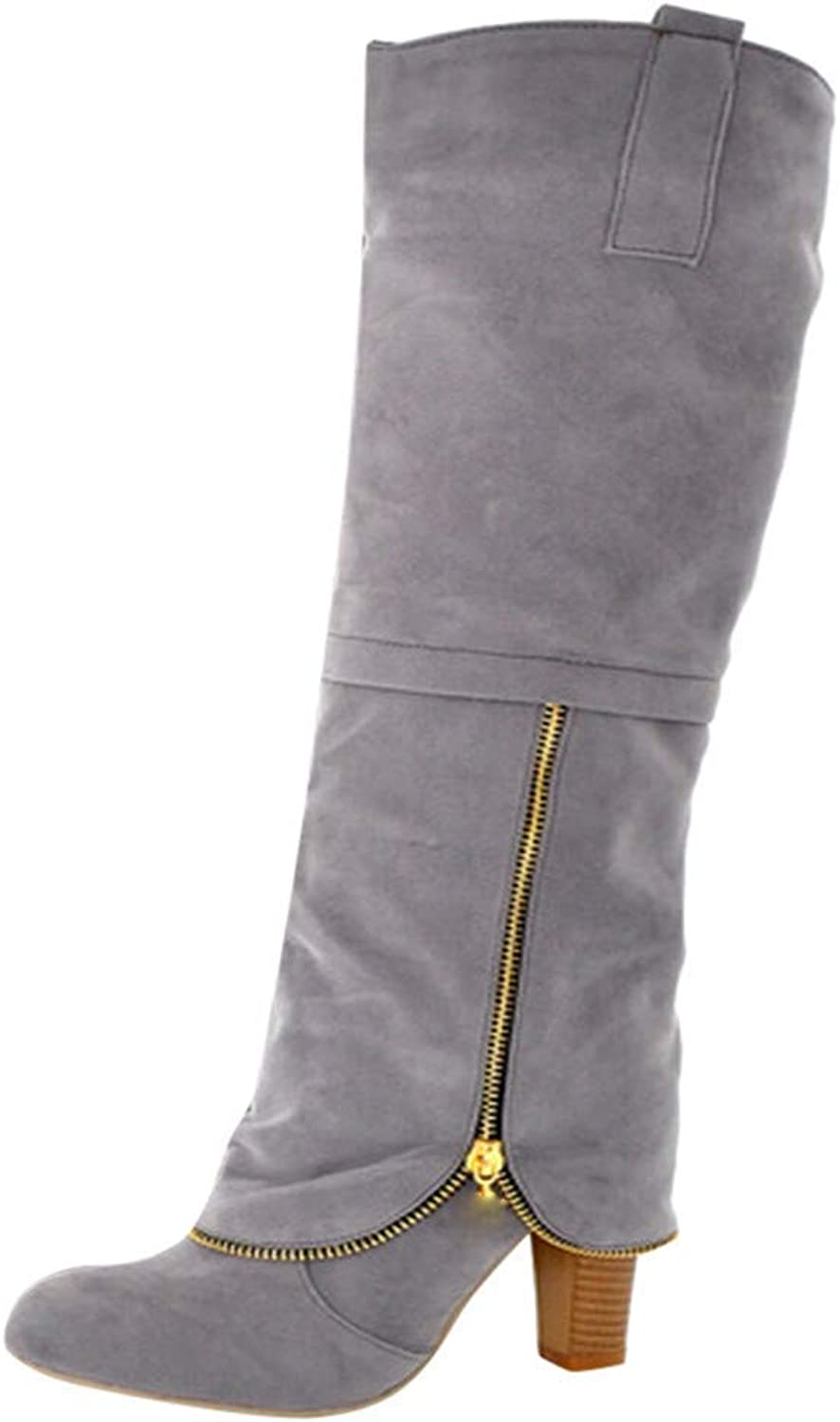 Women's Square High Heeled Knee High Boots Faux Leather Anti-Slip Round Toe