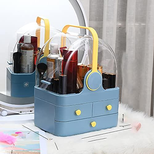 WEIXINMWP Caja de Almacenamiento cosmético Maquillaje Organizador Joyería Caja de Almacenamiento Lápiz Labial Pendiente Pendiente Collar Cajón Transparente Escritorio,Azul