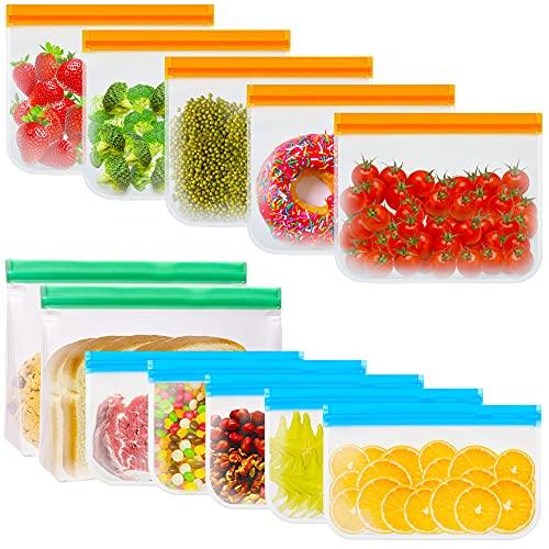 12 Piezas Bolsas de Silicona Reutilizables, Bolsas Congelar Reutilizables para Almacenamiento de Alimentos, PEVA Prueba de Fugas Bolsas Herméticas para Fruta, Verduras, Carne y Sándwich