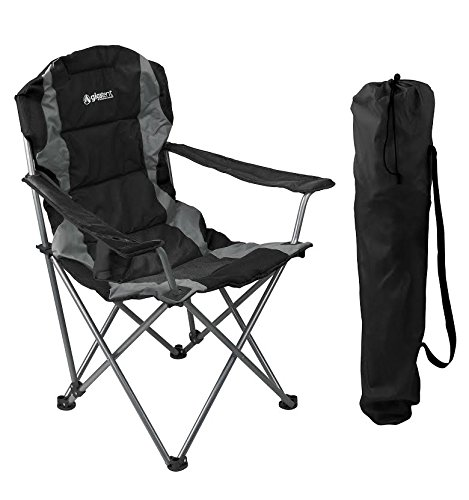 GigaTent Black Folding Camping Chair – Ultra Lightweight Collapsible Quad Padded Lawn Seat with Full Back, Arm Rests, Cup Holder and Shoulder Strap Carrying Bag - Powder Coated Steel Frame