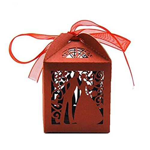 Pixnor Hochzeitsboxen, für Süßigkeiten, Bonbons, Geschenk-Größe, für Gastgeschenke, Paar-Design (Rot), 100 Stück