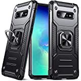Anqrq Galaxy S10 Case, Military Grade Protective Phone Case Cover with Enhanced Metal Ring Kickstand [Support Magnet Mount] Compatible with Samsung Galaxy S10, Black