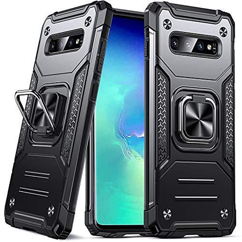 DASFOND Armor Hülle für Samsung Galaxy S10 Case Militärische Stoßfeste Handyhülle [Upgrade 2.0] 360 ° Ständer Cover mit Auto Magnet,Schwarz