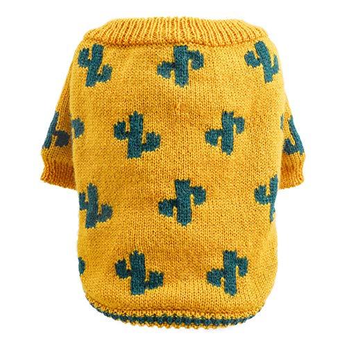 Pet Cat Dog Sweater Clothes Sweater Pet Dog Cat Autumn And Winter Warm Turmeric Cactus Dog Sweater