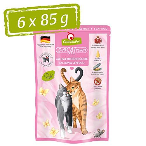 GranataPet Delicatessen Lachs & Meeresfrüchte, Nassfutter für Katzen, Katzenfutter für Feinschmecker, Futter ohne Getreide & ohne Zuckerzusätze, 6 x 85 g