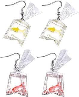 Moca 2 Pairs Funny Goldfish Earrings,Water Bag Shape Dangle Hook Earrings Charm Jewelry Gift Earrings for Women Girls(One Red& One Yellow)