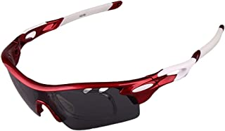 GLJJQMY Outdoor Sports Glasses Riding Glasses Fishing Polarized Sunglasses Set Sunglasses (Color : Red)