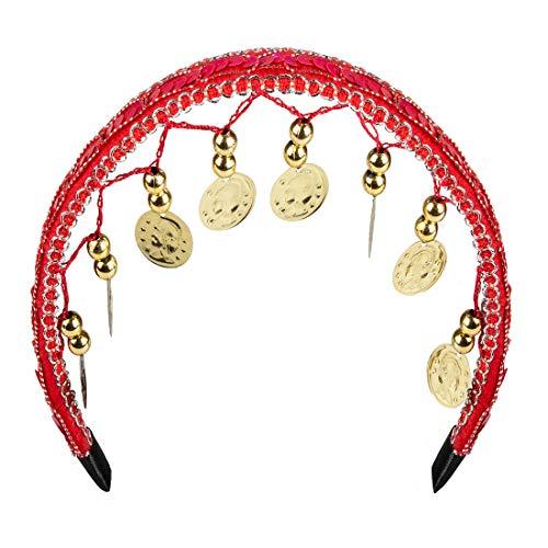 Amakando Elegantes Bauchtänzerin Kostüm-Set / Rot-Gold / Gypsy Outfit Hellseherin / Bestens geeignet zu Fasching & Mottoparty