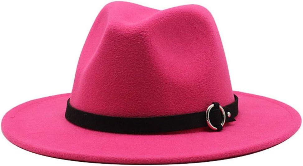 LIRRUI Women Men Wide Brim Cotton Jazz Fedora Hat Panama Style Cowboy Trilby Party Formal Dress Hat Casual Retro Jazz Hat (Color : Magenta, Size : 56-58cm)