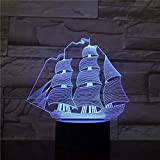 Luces Neon Pared Pirate Ghost Ship Lámpara 3D Visual Led 7 Cambios de Color 3D LED Lights Regalo de cumpleaños Navidad
