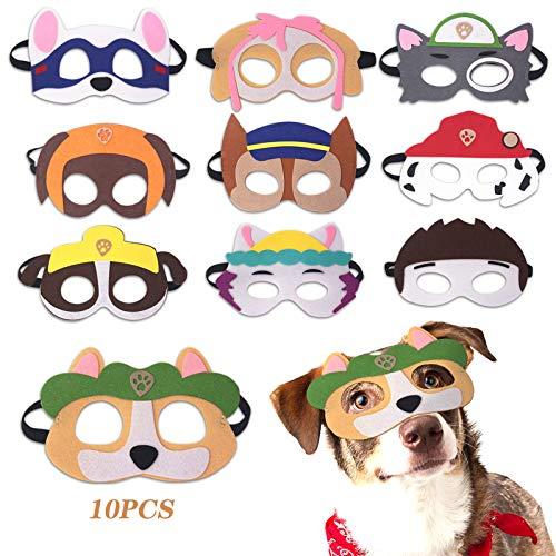 Yisscen Spielzeug Party Masken, Paw Dog Patrol Spielzeug, mit Elastischen Seil für Kinder Cosplay Masken, Filz Tiermasken 10 pcs, Geeignet für Weihnachten, Halloween, Partys, Geburtstage, Rollenspiele