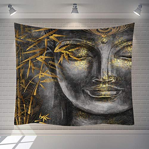 Tapiz De Pared, Estatua De Buda Indio Tapiz Para Colgar En La Pared, Rectangular Gris Dorado Brillante Decoración De Arte Tejido Estampado De Salón Dormitorio