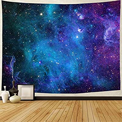 "Lahasbja Galaxy Tapestry Blue Starry Sky Tapestry Universe Space Tapestry Wall Hanging Psychedelic Tapestry Mysterious Nebula Stars Wall Tapestry for Living Room Dorm (XL/70.8"" × 92.5"", Blue Galaxy)"