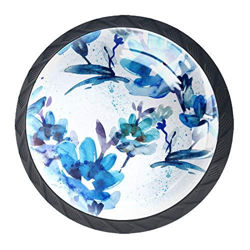 Pomos de Negro Cristal Flor azul RedondoTiradores de Muebles 4 Piezas 35mm Hecho a Mano Pomos para Alacena Baño Cocina Gabinetes Pomos Para Armarios Infantiles