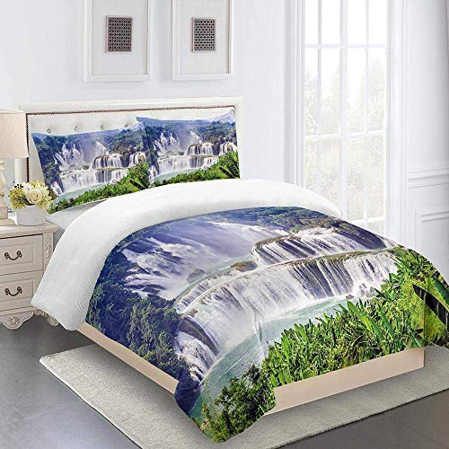 788 DRIVICO Duvet Cover Bedding Set, Forest Waterfall Landscape Microfiber Durable Fade Resistant Fabric - 1 Quilt Cover+2 Pillowcases-Soft Hypoallergenic, Easy Care Printed Patterned Comforter Cover