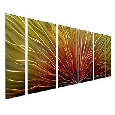 "Pure Art Stunning Abstract Aluminum Metal Wall Art, Set of 6 Red & Yellow Panels - Enhancing Decorative Sculpture for Your Home/Business – Contemporary Artwork of 65"" x 24"" by Pure Art"