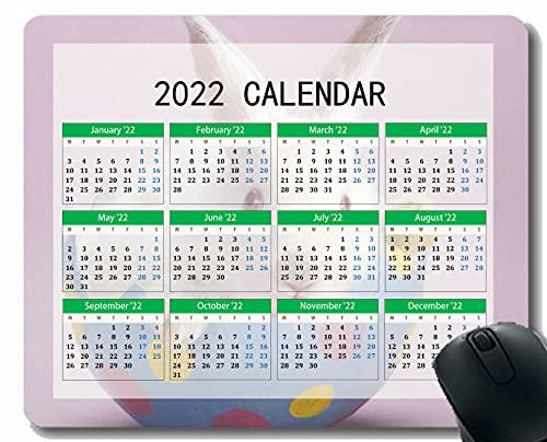 Gaming Mouse Pad 2022 Año Calendario con Vacaciones, Conejo Sentado Color Luz Foto Sesión Mouse Alfombrilla para Oficina Computadoras Portátiles Hombres Mujeres